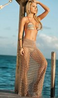 Wholesale Crocheted Maxi Skirt - NEW ! Fashion Bohemian fishnet Beach Skirt hot Women's Crochet Maxi Skirts Long Beach Cover Up Sexy Beach Wrap Dress