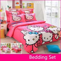 Wholesale Queen Sheets Brown - Wholesale-Brand Logo Hello Kitty Bedding Set Children Cotton Bed sheets Hello Kitty Duvet Cover Sheet Pillowcase King Queen Twin 4Pcs