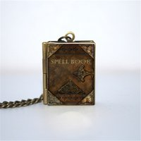 Wholesale gifts books - 12pcs Spell Book Locket Necklace, Bronze tone book jewelry