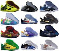 Wholesale Low Boots For Men - 2017 Kobe Bryant 11 Basketball Shoes Kobe 11 xi Elite Low Cut Mamba Day Black Gold Basketball For Men Replicas Boots Sneakers 7-12