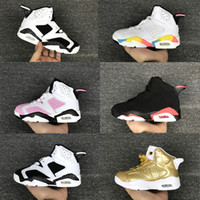 Wholesale Shoes Sport For Girl - Children's Basketball Shoes Kids Retro 6 Metallic Gold Sports Shoes Boys Girls Youths Oreo Black Infrared Athletic Sneakers Cheap For Sale