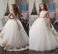 Wholesale Tulle Full Length Ball Gowns - 2017 Cheap Lace Flower Girls Dresses Cap Sleeves Princess Girl Pageant Gowns Full Length Kids Vintage First Communion Dresses