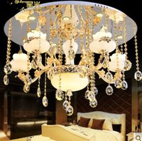 Wholesale Jade Crystal Lamps - European ceiling light living room LED crystal pendant lamp zinc alloy jade Hall