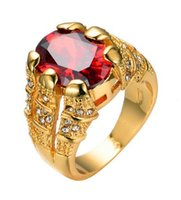 Wholesale Oval Vintage Ring - Big Oval Red Stone Crystal Sapphire Zircon Vintage Wedding Rings For Men Women 10KT Yellow Gold Plated Ring Red Jewelry