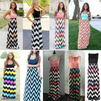Wholesale Maxi Gown Free Shipping - Long Dress Women Sleeveless Halter Waves Striped Dresses Beach Party Maxi Dress Patchwork High Waist Dress Free Shipping