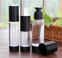 ingrosso contenitori per vuoto-Flacone pompa airless nero da 15 ml 30 ml 50 ml, contenitore airless per lozione PP, dispenser per vuoto cosmetico ricaricabile da viaggio