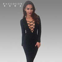 manches longues à manches longues achat en gros de-Vente en gros - 2017 Sexy Women Dress Plunge V Neckline Cross Straps Front Long Sleeve Bodycon Bandage Dress Robe longue à genou longueur