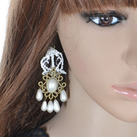 Wholesale Wholesale Simulated Drops - White Bohemia Lace Dangling Simulated Pearl Long Drop Earrings for Women Party Accessories Summer Hook Earrings Dangle & Chandelier 1017