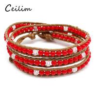 Wholesale Wholesale Handmade Goods - Fashion Handmade Weave Multilayer Leather Bracelets For Men Women 4 Colors Boheme Wrist Beads Cuff Bracelets Jewelry Good Quality