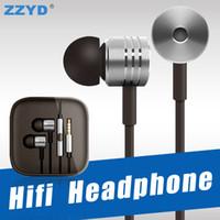 kopfhörer kopfhörer metall großhandel-ZZYD Xiaomi HIFI Kopfhörer Noise Cancelling Headset Universal 3,5 MM Metall Kopfhörer Für Xiaomi Samsung Sony LG mit Kleinpaket