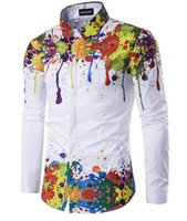 Wholesale Long Sleeve Shirt Types - Personalized 3D ink-type color printing men's long-sleeved shirt hot sale men shirts luxury mens shirts regular fit brand mens flannel shirt