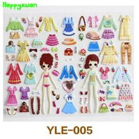 Wholesale Cute Sticker Dress - Happyxuan 6pcs pack Cute Girls Dress Up Stickers Pvc Bubble For Kids Learning Early Toys 2-6 Years Old YLE Series