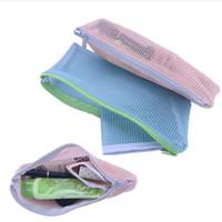 sacos com zíper de malha venda por atacado-Nova Moda Lady Coreano mão transparente Pouch lavagem Saco cosmético saco de malha com zíper pacote versátil de armazenamento saco cosmético