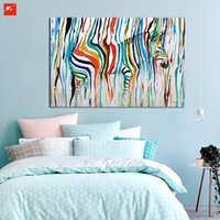 Wholesale Colourful Wall Painting - 2016 Abstract Colourful Rainbow Zebra Animal Wall Art Hand Painted Oil Painting Big Size Home Living Room Decoration
