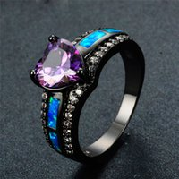 Wholesale black birthstone - Charm Multicolor Heart Zircon Blue White Pink Fire Opal Rings For Women Vintage Fashion Black Gold Filled Birthstone Ring