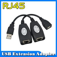 Wholesale Usb Cat5 Extension - New Hot USB 2.0 MALE to FEMALE CAT5 CAT5E 6 RJ45 Ethernet Extender Lan Extension Cable Repeater Adapter Up To 150ft