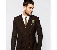 groomsmen chalecos chaqueta marrón oscuro al por mayor-Center Vent Groomsmen Shelfl Lapel Groom Tuxedos Brown oscuro Trajes Boda Best Man Blazer (Chaqueta + Pantalones + Chaleco + Corbata) C55