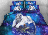 Wholesale Tiger Animal Print Bedding - Galaxy White Striped Tiger 3D Printed Fabric Cotton Bedding Sets Twin Full Queen King Size Duvet Covers Pillow Shams Comforter Earth Stars