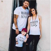 Wholesale Lycra T Shirt Kids - Wholesale Summer MiniBoss Baby Children T-Shirt Clothing New Kids Clothing Short Sleeve Casual Father Mother Daughter Clothes Free Shipping