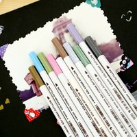 Wholesale Sta Markers - School Supplies Soft Brush Pen STA 10Colors Box 1-2 mm Metallic Marker Pen DIY Scrapbooking Crafts Art Markers For Stationery