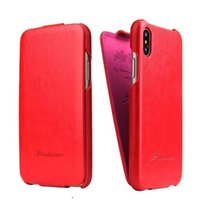 Barato Sacos Verticais De Couro-Luxo PU Leather Vertical UP e Down Open Case Filp Cover para iPhone X Opp Bag