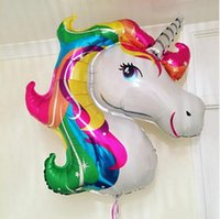 Wholesale Unicorn Balloon - Unicorn Foil Balloons Animal Helium Ballons Globos Inflatable Classic Toys Birthday Party Decorations Kids Party Supplies Balloon 112*87cm