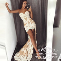 Wholesale strapless cocktail dresses online - 2018 Sexy Short Prom Dresses Sweetheart Appliques Lace Satin Ivory Champagne High Low Evening Gowns Cocktail Party Dresses Homecoming Dress