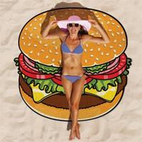 Wholesale blue sky swimwear - 2018 Round Swimming Beach Towels Hamburger Pizza Donuts Skull Outdoor Sports Pads Camping Travel Swim Mat Blanket Shawl Swimwear