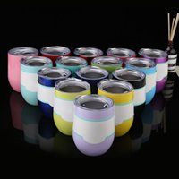 Wholesale Coat Business - 9Oz Egg Cup With 20 Colors Coated Wine Glasses Stainless Steel Tumblers Vacuum Insulated Beer Wine Mugs Egg Cups