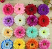 fleurs de marguerites en soie achat en gros de-Tête de fleur de chrysanthème artificielle dia 10cm Bouquet de fleur artificielle multicolore de mariage / fleur Daisy SF0709