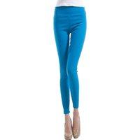 Wholesale White Cotton Lycra Leggings - Wholesale- 2017 Brand New Plus Size Solid Cotton Causal Fitness Women Leggings Slim High Waist Elastic Leggings Women Pants P007