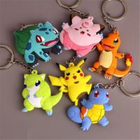Wholesale Charmander Figure - Poke Keychain Pikachu Cartoon Keyring Charmander Bulbasaur Squirtle PVC Action Figure Key Chain Charms 4CM-6.5cm Keyring