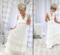 Wholesale Sleeveless Tea Length White Dresses - .2017 Bohemian Summer Beach Flower Girl Dresses V Neck Vintage Lace Tiers Lace Cute Princess Girls Dresses For Wedding Custom