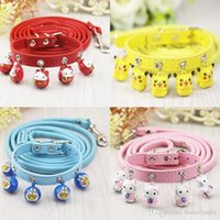 Wholesale Dog Harness Letters - Wholesale Dog Collars Leashes Adjustable Bells Collars Little Dog Harness Leash Lead Strap Collar for Pet Dog Puppy Lovely Decoration