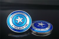 Wholesale Police Challenge Coins - 1 pcs Thin Blue Line Lives Matter Police America Shield Challenge Commemorative Coin