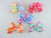 Wholesale Wholesale Coloured Hair Clips - 4pcs jojo girl Newest 5inch ombre multi colours hair bows Alligator clips with crystal Boutique Rainbow Striped Sweet Accessories HD3473