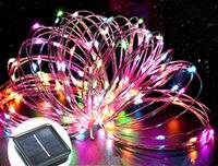 Wholesale Indoor Garden Party Decorations - 100leds Copper Wire LED String Light Christmas Party Garden Tree Indoor Outdoor Decoration Festival Waterproof Solar Led Strip