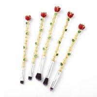 Wholesale Flower Set Up - 5pcs metal Makeup Brushes Set Multicolored Rose Flower Shape Make Up Foundation Cosmetic Powder Brushes Brush Makeup 2805115