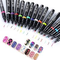 Wholesale 3d Paint Pen For Nails - Wholesale-2016 DIY Decoration Nail Art Pen for 3D Nail Art Nail Polish Pen 3D Design Tools Painting Pen Manicure Tools 24 Colors Pick 1