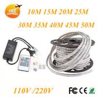 Wholesale Free Remote Pc - FREE Cut 10M-50M 110V 220V High Voltage SMD 5050 RGB Led Strips Lights Waterproof +IR Remote Control+Power Supply