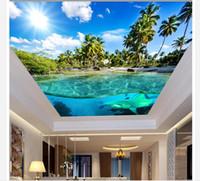 muralas subaquáticas 3d para paredes venda por atacado-3D teto papel de parede imagem personalizada mural de parede mundo subaquático céu azul nuvens brancas Zenith Mural 3D teto papel de parede frete grátis