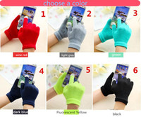 Wholesale Colorful Cotton Gloves - NEW Hot Fashion Hallowmas Christmas Gifts Colorful Winter warm touch glove Cotton capacitive screen conductive gloves for iphone 6 ipad air