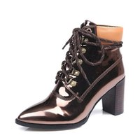 Superstar Band Stiefeletten 4 Farben Metallic Lackleder Chunky High Heel Lace Up Kurze Stiefel Schuhe Frauen Pumps