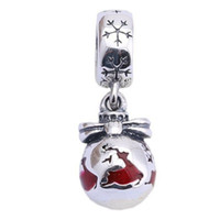 Wholesale Deer Oval - 2017 New Red Enamel Christmas Deer Dangle Charms 2016 Summer 925 Sterling Silver Animal Charms For Women Bracelets DIY Jewelry Making HB450