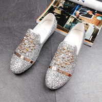Wholesale Red Rhinestone Flat Wedding Shoes - New Dandelion Spikes Flat Leather Shoes Rhinestone Fashion Mens Loafers Dress Shoes Men Slip On Casual Diamond Pointed Toe Shoes