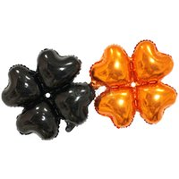 Wholesale Building Arches - 50pcs lot 18inch black orange four leaf clover foil balloons building column arch Halloween wedding decor heart skeleton globos