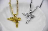 Wholesale Men Pendant Gun - Fashion Jewelry Hip Hop Dance Charm Gun SUPREME Necklace Star Jewelry Men Franco Chain Hiphop Golden Necklace
