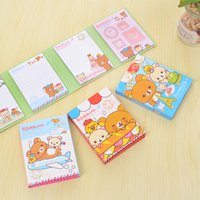 Wholesale Sticky Note Book - Wholesale- Kawaii Rilakkuma 4 Folding Memo Notepad,note Book&memo Pad,sticky Notes Memo Set,gift Stationery