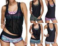 Wholesale Women Pieces Shorts Suit - 2017 Sexy Women Swimwear Three pieces Tankini with Shorts Sporty Bathing Suits Women Plus size S~3XL