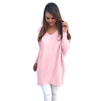 Wholesale Oversized Sweaters Wholesale - Wholesale-Autumn Women Ladies V-Neck Chunky Knitted Oversized Baggy Sweaters Thin Jumper Tops Outwear